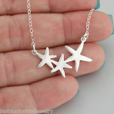 Three Starfish Pendant Necklace - 925 Sterling Silver NEW Beach Ocean Nautical