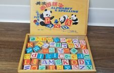 Vintage Wooden Alphabet, Spelling and Picture Wooden Block Learning Set