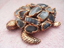 """METAL COPPER COLORED TURTLE WITH BLACK/GRAY GEMSTONE SHELL - 3 1/2"""" - LOT #27"""