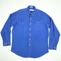 Vtg St Johns Bay Chamois Flannel Work Shirt LT Tall Faded Blue Distressed USA