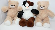 Lot of 3 Plush Stuff Teddy Bears Bday Parties Brown and White /Black Approx 17""