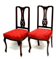 A pair of Vintage Chippendale Mahogany Chairs [6142]