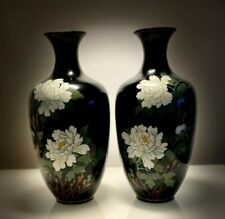 More details for pair of large early 20th c. japanese mirror image cloissone enamel vases
