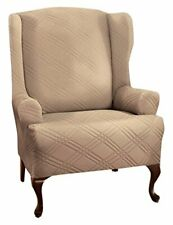 Stretch Sensations Double Diamond Wingback Chair Stretch Slipcover in Beige
