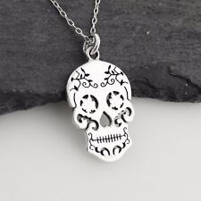 Sterling Silver Skull Pendants Sterling silver skull fine necklaces pendants without stones ebay sugar skull necklace 925 sterling silver day of the dead halloween calavera audiocablefo