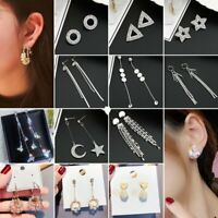 Fashion Geometric Tassel Pearl Crystal Women Stud Earrings Dangle Drop Jewellery