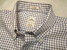 Peter Millar Nanoluxe Dark Purple Tattersall Check Sport Shirt NWT Large $125