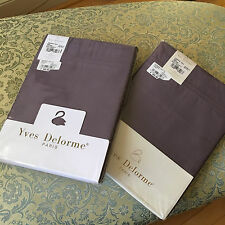 YVES DELORME Triomphe Figue Purple Queen Flat Sheets 100% cotton NEW