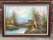 Vintage ORIGINAL Oil Painting on Canvas w Wood Frame Country Scene Lake Trees