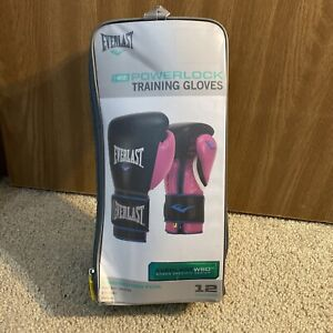 Everlast P00000745 Women's 12 Ounce Powerlock Hook & Loop Training Gloves, Pink