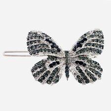 USA Butterfly Hair Clip Hairpin Rhinestone Crystal Elegant Unique Black R12