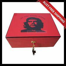 Che Guevara Humidor - Red, 50+ Cedar Cigar Humidor Box, Humidifier Hygrometer