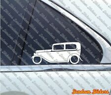 2x classic car outline stickers - for 1932 Ford Tudor sedan street / hotrod