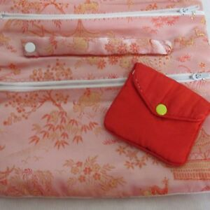 Cloth Jewelry Travel Bag Chinese Print Zippered Compartments Ring Bar 11 x 8