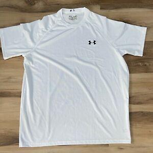 Under Armour Mens Heatgear T Shirt Medium Loose Fit White Short Sleeve