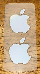 Apple Stickers Sheet of 2 Genuine OEM White Apple Logo Decals