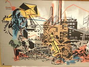LARGE VTG MID CENTURY MODERN INDUSTRIAL FOLK ART PAINTING MURAL MCM BEN FRANKLIN