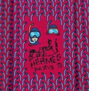 """Cool Brand New Tag Hermes Tie Heavy Silk Twill Pink/Blue """"SNORKEL"""" Rare Mint!"""