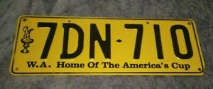 OLD! 1980s CAR AMERICAS CUP REGISTRATION NUMBER LICENCE PLATE WESTERN AUSTRALIA