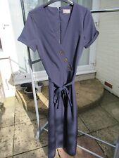 Oasis Women's Jumpsuit Size 10 Navy Blue Wide Legged Cropped