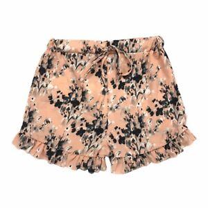 NWT Boohoo Petite Pink Lara Floral Printed Frill Hem Woven Shorts Size 0