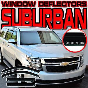 2015-2018 Suburban Side Window Sun Vent Shades Rain Deflectors Visors with Logo
