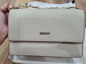 NEW DKNY flap crossbody bag - beige/bone with gold detail