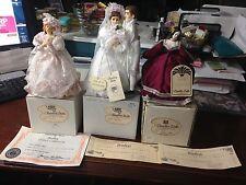 VTG Bride Groom Amanda & Burgundy Bradley Dolls All NWT & Boxes & Cert Authencty