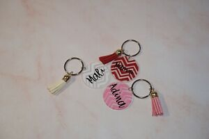 Personalised Acrylic Keyring keychain Initial and Name Custom Gift with Tassel