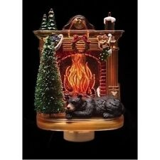 6 Inch Black Bear Fireplace Night Light Flicker Bulb