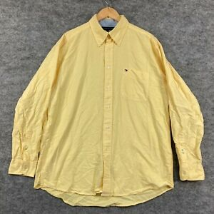 Tommy Hilfiger Mens Button Up Shirt Size L Large Yellow Long Sleeve 196.09