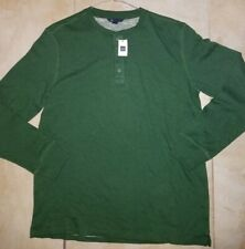 GAP Men's Long Sleeve Cotton Ribbed Sweater Shirt size Large Dark Forest Green