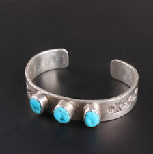 Sterling Silver .925 authentic turquoise Native American old pawn cuff bracelet