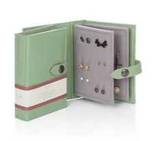Small Little Book Of Earrings Green 2 Page Jewellery Box Book Travel Size Gift