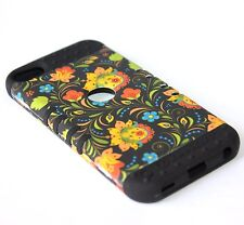 iPod Touch 5th 6th Gen - HARD&SOFT RUBBER HYBRID CASE YELLOW GREEN BLACK FLOWERS