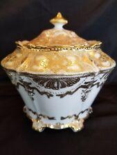 Nippon Cracker Biscuit Jar Maple Leaf Blue Back Stamp 1891 Gold Beautiful