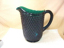 Vintage Imperial Crystal Early American Hobnail Green Beverage Pitcher