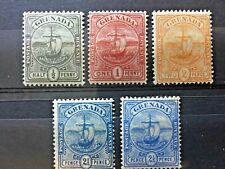 GRENADA 1906, Badge of the Colony, Post stamps with ship and boat, tropical post