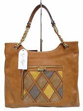 NWT Jessica Simpson Satchel Cognac Multi Front Slip&Flap Pockets Gold Hardware