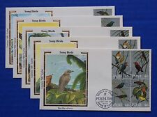 "Palau (99-102) 1986 Songbirds Colorano ""Silk"" FDCs"