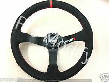 Universal NISMO Drifting Style 350mm Suede Deep Steering Wheel in Red Stitching