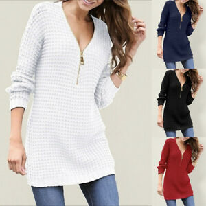 Womens Loose Fit Zip Up Jumper Tops Ladies Long Sleeve V Neck Mid Length Sweater