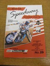 13/10/1989 Speedway Programme: Belle Vue v Coventry & Colts v Junior Bees (resul