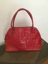 Furla Croc Embossed Top Handle Tote Handbag/Purse Leather Red