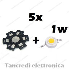 5X Chip led 1W bianco freddo 350mA 3V 3.6V dissipatore alluminio lampadina bulb
