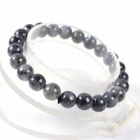 Natural 8mm Gray Labradorite Round Gemstone Beads Elastic Bracelet 7.5''