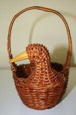 Vintage Basket Wicker Rattan Duck Handle Wood Beak Brown Small Farmhouse