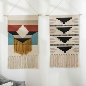 Simple Cotton Linen Tapestry with Tassel Handmade Nordic Style Home Decor