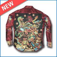 NWT Robert Graham Size S Samurai Spirit Silk Shirt Limited Edition Graphic Print