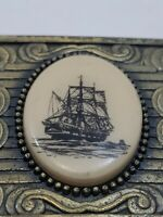 Brass Scrimshaw Nautical Maritime Ship Belt Buckle